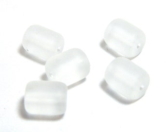 5 Frosted White Sea Glass Beads, 10x8mm, White Beads, Barrel Beads, White Matte Beads, Ocean Beads, Beach Beads, Frosted White Beads D-H37