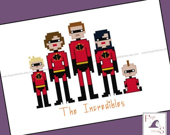 The Incredibles Parody Counted Cross Stitch - PDF Patten - INSTANT DOWNLOAD