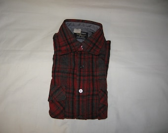 vintage 1970s woolo'thewest  plaid wool longsleeve shirt size small deadstock