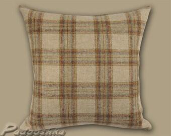 Tan plaid pillow cover. Scottish plaid. Tartan tweed Tweed pillow cover Tweed cushion cover Throw pillow cover Dornoch Sand fabric from Moon