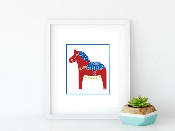 Red & Blue Dala Horse Art Print, Instant Digital Download