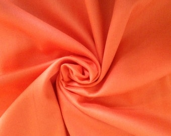 Plain cotton sateen fabric - Orange-  100% cotton - 153 cm wide - by the yard