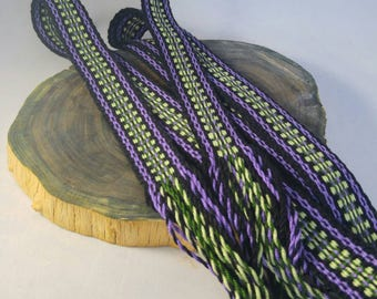 """Inkle weaving ribbon, strap, band, or trim with fringe - 1"""" handwoven -  SCA, LARP, Viking, and Cosplay - Purple, Green, and Black"""