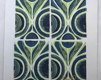 Organic Pattern Linocut Print-Cool Blue Color