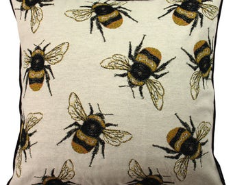 McAlister Textiles Bug's Life Tapestry Insect Print Scatter Cushions & Covers w/ Polycotton Backing - Yellow + Black Bumblebees