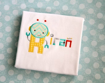 Personalized Embroidered Robot Boy Monogram Applique Monogrammed Name Shirt