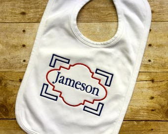 Baby Boy Monogrammed Bib with Name Frame Personalized Embroidered Monogram Baby Boy Shower Gift Newborn Baby Boy Gift Baby Boy Preppy