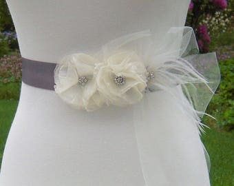 Gray Bridal Sash, Wedding Dress Sash Belt with Ivory Organza Flowers, Tulle and Ostrich Feathers and Rhinestones  - BB0118