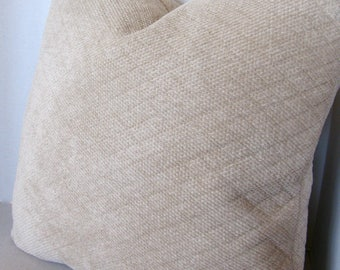 Chenille 22x22 Euro Pillow Cover/ Jacquard Weave Diamond Pattern/ Barley/ Zipper/ High End Upholstery/ Coordinating Sofa/ Accent/ Throw