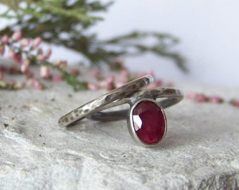 Ruby ring Set rings sterling silver 925  natural Ruby ring unique ring Hammered Sterling Silver ring oxidized silver 925 gift for her