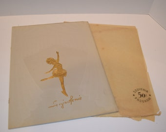 Vintage 1951 Sonya Henie Hollywood Ice Review Program - Suede Cover