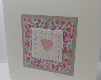Hand stitched and hand painted textile art 'heart' fabric card with Liberty print fabric - mothers day - birthday - thank you
