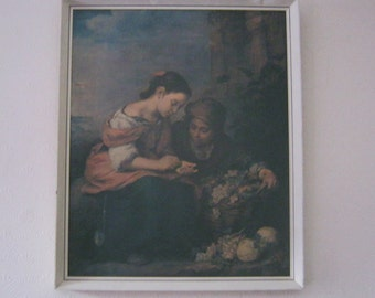 "1970s Framed Print on Board Picture ""Small Fruit Dealers"" by Murillo"