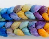 Merino Seide,Purple Faun, handbemalte Fasern zum Spinnen,120g Kammzug