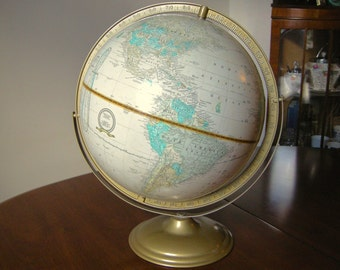 "Cram's 13"" Imperial World Globe w/ Gold Metal Base"