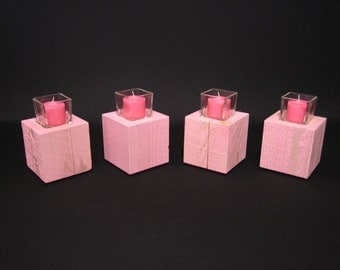 Rustic Rough Sawn Cedar Wood Square Votive Candle Holder Set In Candy Pink Wedding Candles
