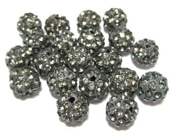 10pcs Gray Polymer Clay Rhinestone Beads Pave Disco Ball Beads - Grade A 10mm