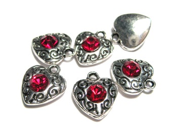 Antique Silver Heart with Red Rhinestone Charms Pendants 12mm