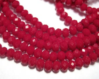 Red Dyed Faceted Rondelle Glass Beads 4x3mm