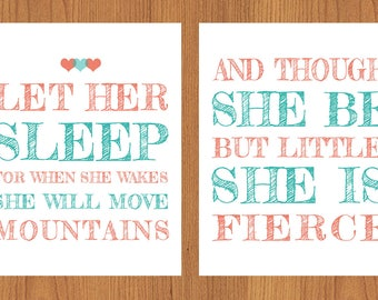Let Her Sleep For When She Wakes And Though She Be But Little She is Fierce Hearts Nursery Wall Art Coral Pink Teal Set of Two (29)