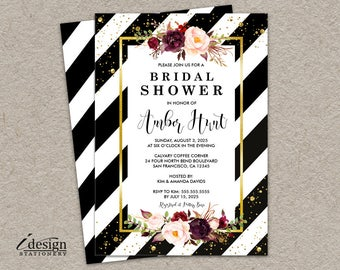 Floral Bridal Shower Invitation | Elegant Printable Black White Striped Wedding Shower Invitations With Gold Glitter Confetti And Flowers
