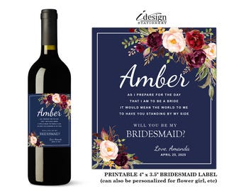 Will You Be My Bridesmaid Wine Label | Printable Floral Watercolor Bridal Party Invitation Wine Bottle Labels For Flower Girl, Maid Of Honor