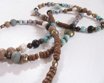 Buddha Holzperlen und Steinperlen vintage yoga Style Necklace