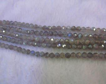 "AA+ Full strand 16"" Natural  Labradorite Beads round ball  Faceted Round Labradorite Beads Gemstone Beads 3-4mm"