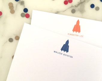 Spaceship Stationary - Kids Boys Personalized Stationery Set of 20 Flat Note Cards Thank You Notes