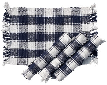 SouvNear Table Decor and Decorations - Hand-Woven 100% Pure Cotton Set of 4 Placemats Kitchen Dining Table Decor