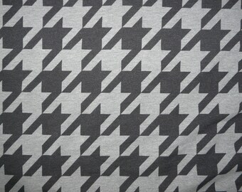 Fabric - Cotton sweatshirt jersey fabric - grey marl large dogtooth print