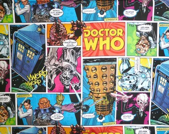 Fabric - Dr Who comic strip cotton print - woven cotton