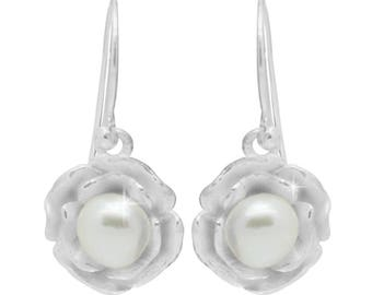 Rose White Pearl Earrings 925 sterling silver Pearl (1A nature quality) earrings (No. OPR-63)