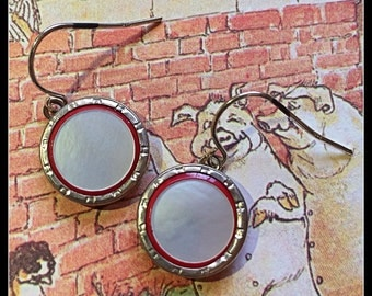 Circa 1920s Art Deco Cufflink Dangle Earrings, Red with Mother of Pearl and Silver Trim, Sterling Earwires
