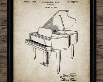 Piano Patent Print - 1953 Piano Design - Music Room Art - Piano Music - Pianist Gift - Orchestra Art - Single Print #2275 - INSTANT DOWNLOAD
