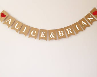 Personalised bunting, Wedding bunting, Wedding decoration, Engagement decoration, Engagement bunting, Anniversary bunting