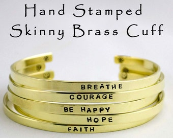 Hand Stamped Skinny Stacking Cuff Bracelet Mantra Jewelry Hammered Engraved Brass Personalized Bridesmaid Jewelry Gifts Under 15