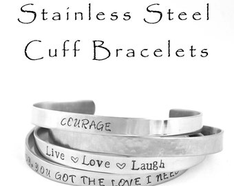Hand Stamped Stainless Steel Cuff Bracelet Personalized Jewelry Mantra Bracelets Gifts Under 20 Engraved Stainless Steel Jewelry