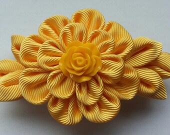 Kanzashi fabric flower french barrette. Yellow hair accessory.