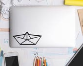 Origami Boat Macbook Decal Paper Boat Apple Macbook Sailboat iPad and other laptops Nautical Stickers Computer Decals Modern