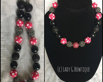 Hot Pink Dotty Minnie Mouse Inspired Adult Chunky Necklace