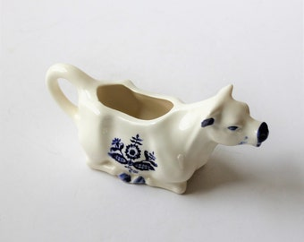 Vintage blue and white china kneeling cow pitcher, cottage decor