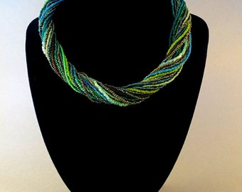 Multistrand Beaded Necklace//Green//Emerald//Bronze//Free Shipping