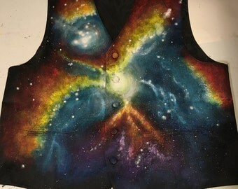 Galaxy Print Formal Vest - Hand Painted, Mens Formal Vest, Nebula, Custom Painted, Stars, Cosmos, Womens Vest, Tuxedo Vest, Special Event
