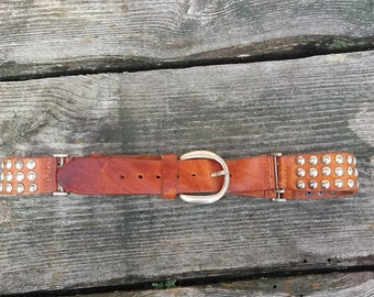 Vintage 70s Heavy Brouwn Leather and Silver Chrome Western Belt