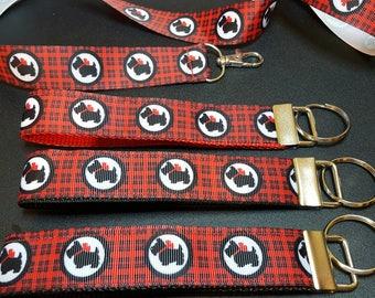 key fob, wristlet, keychain, lanyard - Scottie dog on red/black plaid - M2296