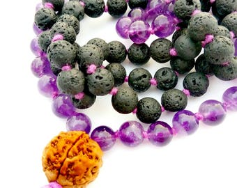 Diffuse Mala Beads, Amethyst, Lava and Rudraksha For Healing, Protection, Strength