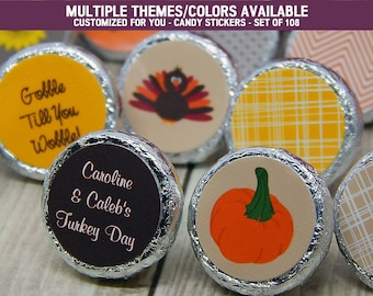Thanksgiving Favors - Thanksgiving Favors Ideas - Thanksgiving Favors to Make - Thanksgiving Decorations -108 PRINTED Hershey® Kiss Stickers