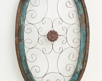 Milan Architectural Window -Wall-Primitive-Rustic-Garden-Patio-25x41-Turquoise-Red -White