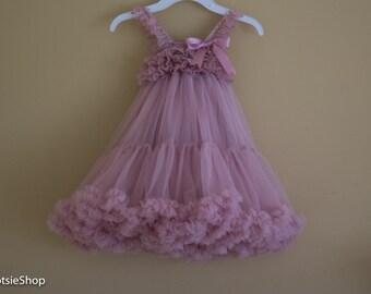 Dusty Pink Lace Chiffon Dress, Toddler Lace Dress, Lace Dress, Vintage Lace Dress, Special Occasion Girl Dress, Tutu Dress, Birthday Dress